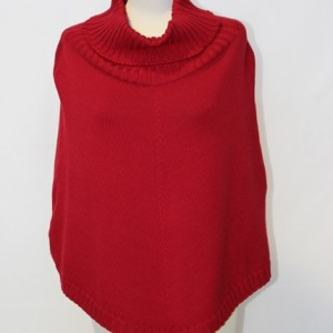 MGE1303 Ladies Elegant Jersey Poncho with Collar Red