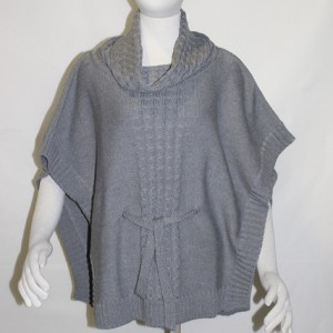 MGW1302 Ladies Cable Front Poncho with Collar Pewter