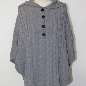MGW1609 Ladies Cable Hooded Poncho