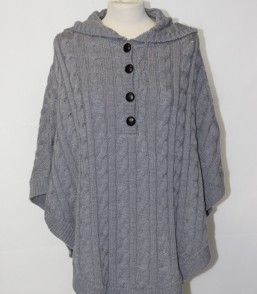 MG Australian Merino Cable Hooded Poncho